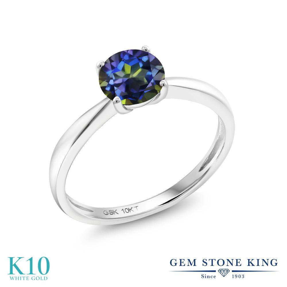 【10%OFF】 Gem Stone King 1カラット 天然石 ミスティックトパーズ (ブルー) 指輪 リング レディース 10金 ホワイトゴールド K10 大粒 一粒 シンプル ソリティア クリスマスプレゼント 女性 彼女 妻 誕生日