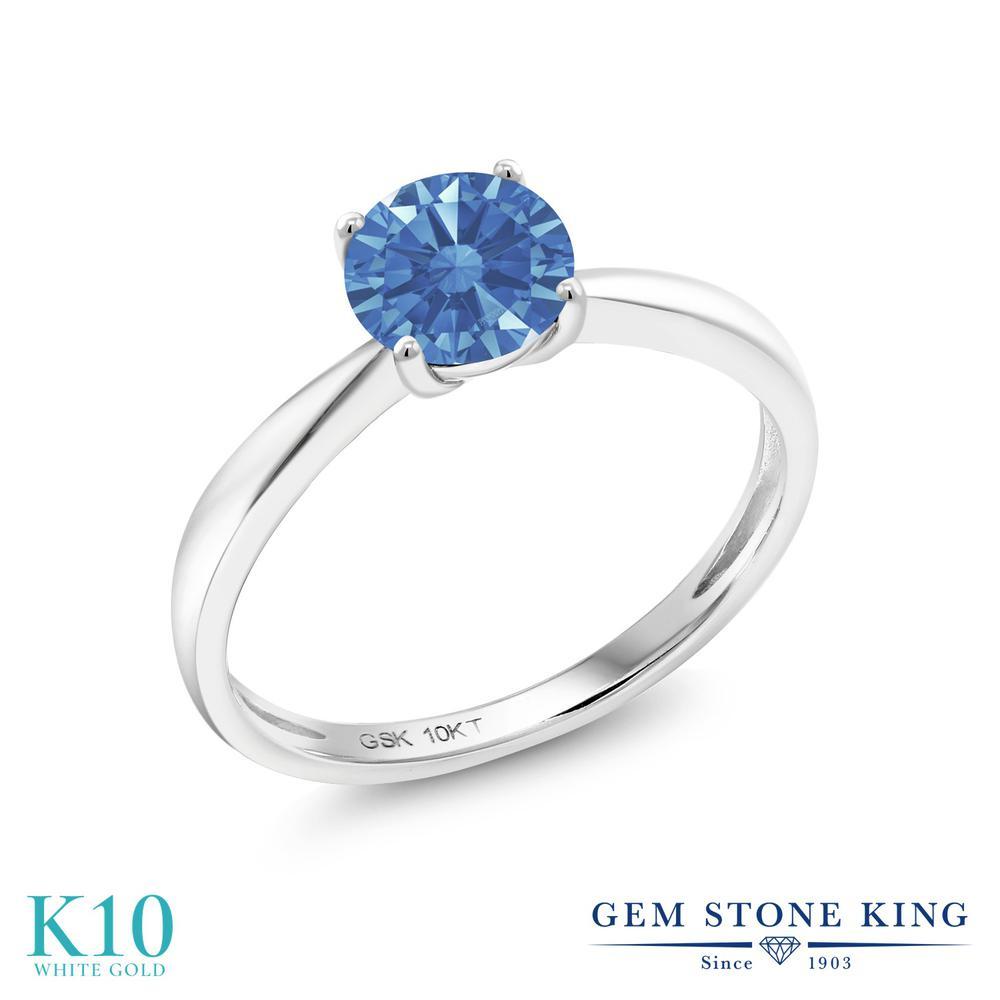 【10%OFF】 Gem Stone King スワロフスキージルコニア (ファンシーブルー) 指輪 リング レディース 10金 ホワイトゴールド K10 CZ 一粒 シンプル ソリティア クリスマスプレゼント 女性 彼女 妻 誕生日