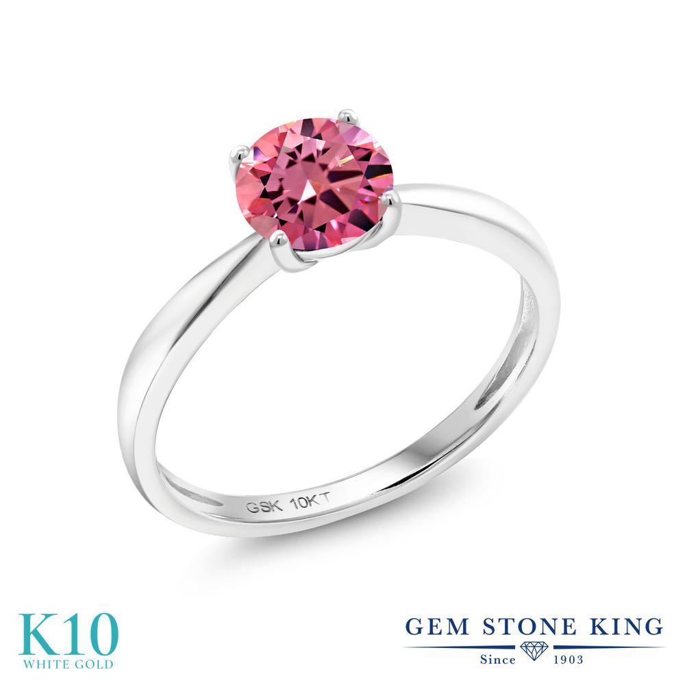 【10%OFF】 Gem Stone King スワロフスキージルコニア (ファンシーピンク) 指輪 リング レディース 10金 ホワイトゴールド K10 CZ 一粒 シンプル ソリティア クリスマスプレゼント 女性 彼女 妻 誕生日
