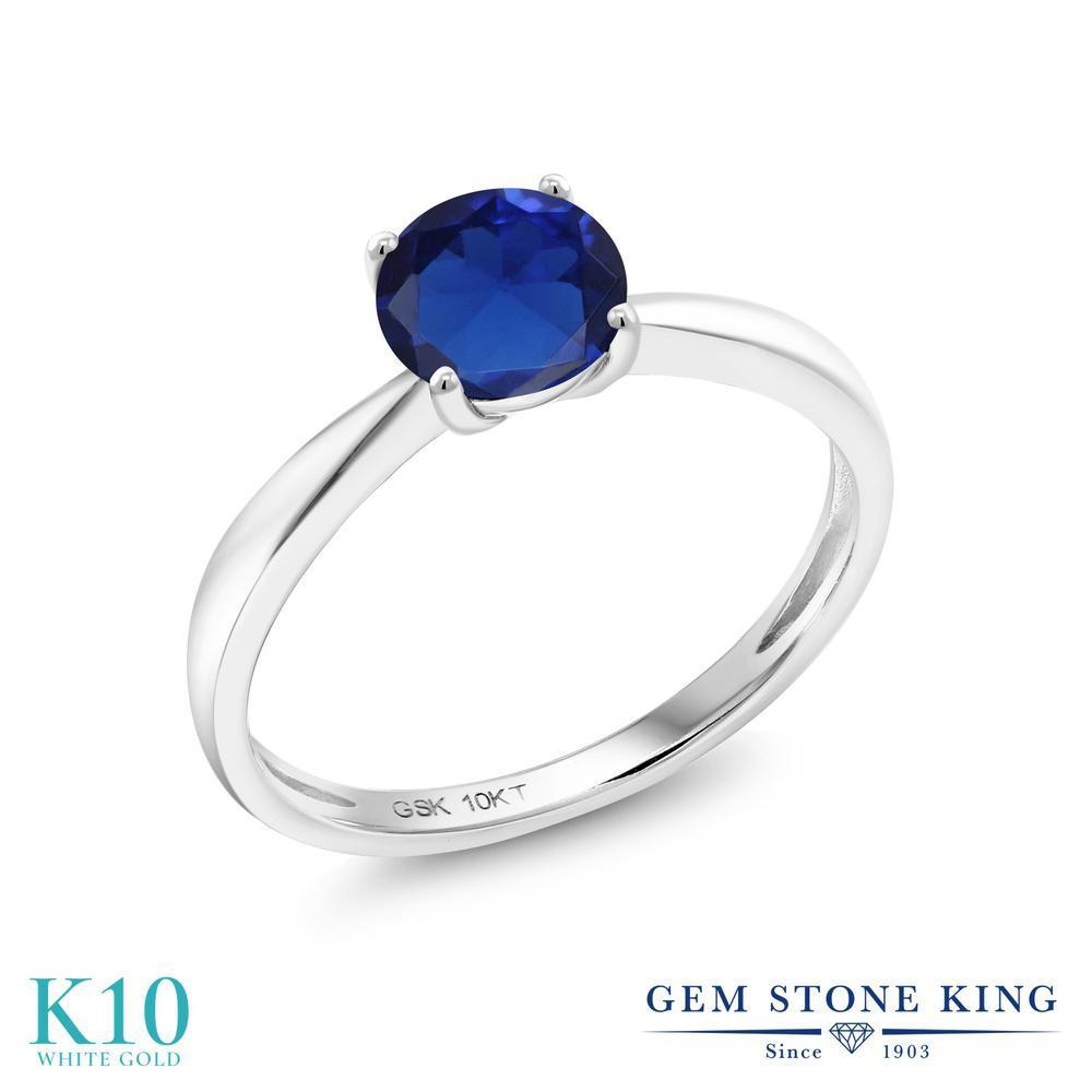 【10%OFF】 Gem Stone King 0.75カラット シミュレイテッド サファイア 指輪 リング レディース 10金 ホワイトゴールド K10 一粒 シンプル ソリティア クリスマスプレゼント 女性 彼女 妻 誕生日