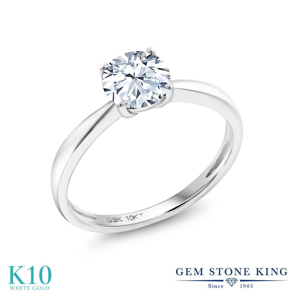 【10%OFF】 Gem Stone King 1.2カラット 合成ホワイトサファイア (ダイヤのような無色透明) 指輪 リング レディース 10金 ホワイトゴールド K10 大粒 一粒 シンプル ソリティア クリスマスプレゼント 女性 彼女 妻 誕生日