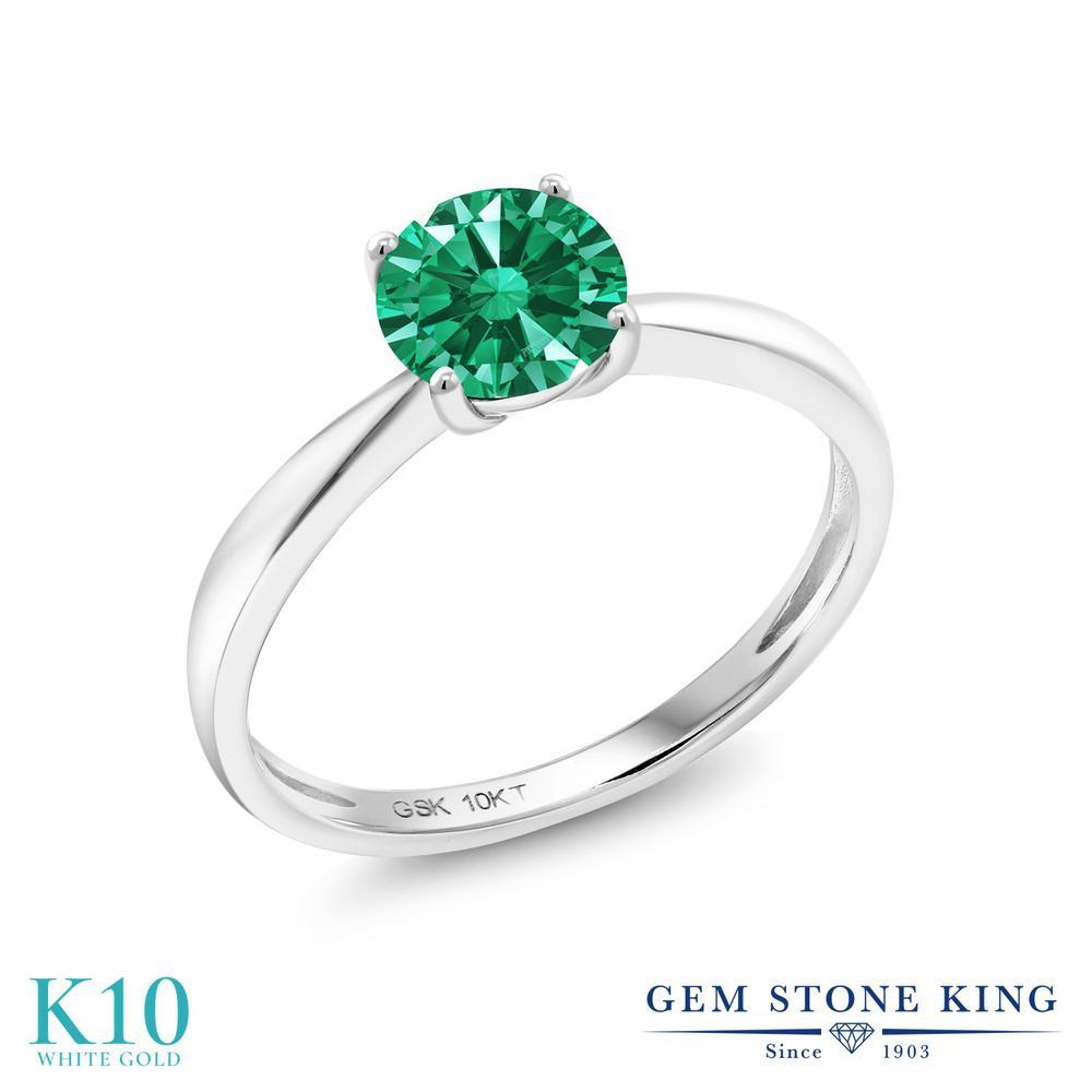 【10%OFF】 Gem Stone King スワロフスキージルコニア (グリーン) 指輪 リング レディース 10金 ホワイトゴールド K10 CZ 一粒 シンプル ソリティア クリスマスプレゼント 女性 彼女 妻 誕生日
