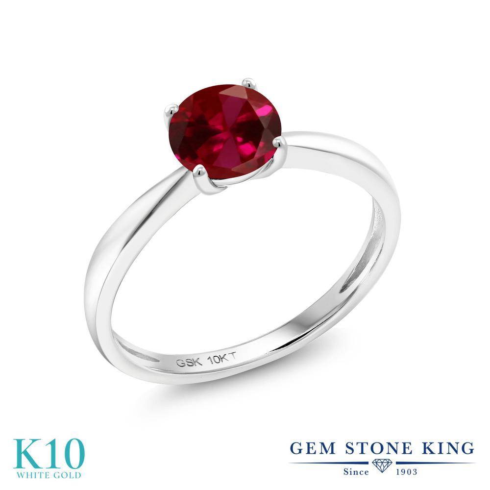 Gem Stone King 1カラット 合成ルビー 10金 ホワイトゴールド(K10) 指輪 リング レディース 大粒 一粒 シンプル ソリティア 金属アレルギー対応 誕生日プレゼント