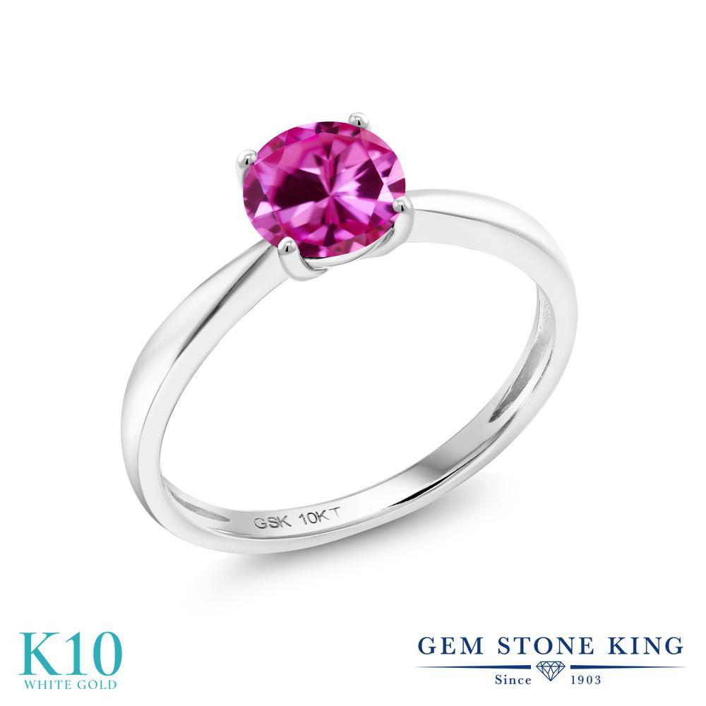 【10%OFF】 Gem Stone King 1カラット 合成ピンクサファイア 指輪 リング レディース 10金 ホワイトゴールド K10 大粒 一粒 シンプル ソリティア クリスマスプレゼント 女性 彼女 妻 誕生日