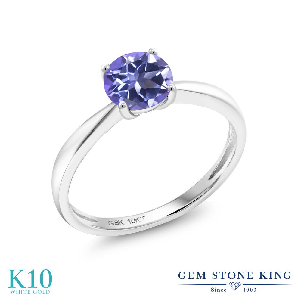 【10%OFF】 Gem Stone King 1カラット 天然 ミスティックトパーズ (タンザナイトブルー) 指輪 リング レディース 10金 ホワイトゴールド K10 大粒 一粒 シンプル ソリティア 天然石 クリスマスプレゼント 女性 彼女 妻 誕生日