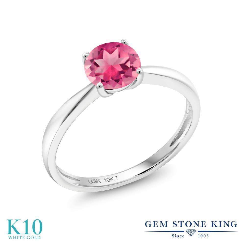 【10%OFF】 Gem Stone King 1カラット 天然 ミスティックトパーズ (ピンク) 指輪 リング レディース 10金 ホワイトゴールド K10 大粒 一粒 シンプル ソリティア 天然石 クリスマスプレゼント 女性 彼女 妻 誕生日