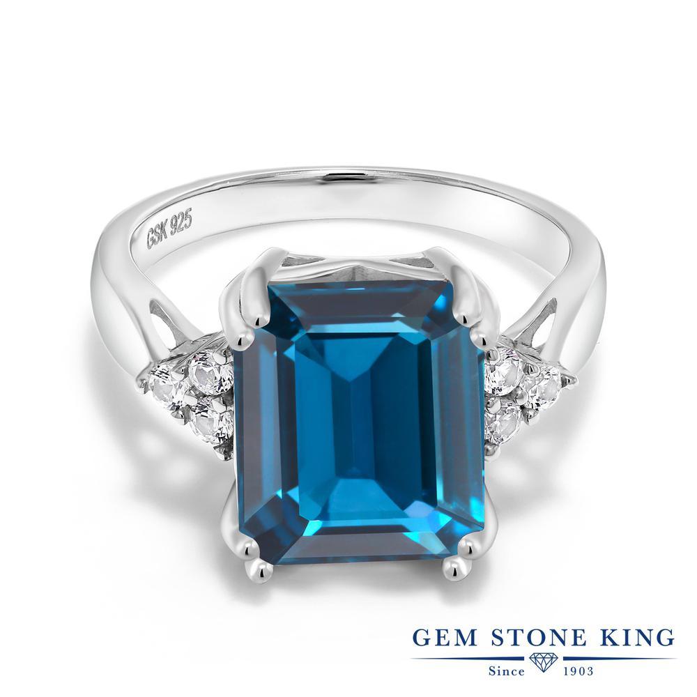 Gem Stone King 7.66カラット 天然 ロンドンブルートパーズ シルバー925 指輪 リング レディース 大粒 カクテル 天然石 11月 誕生石 金属アレルギー対応 誕生日プレゼント