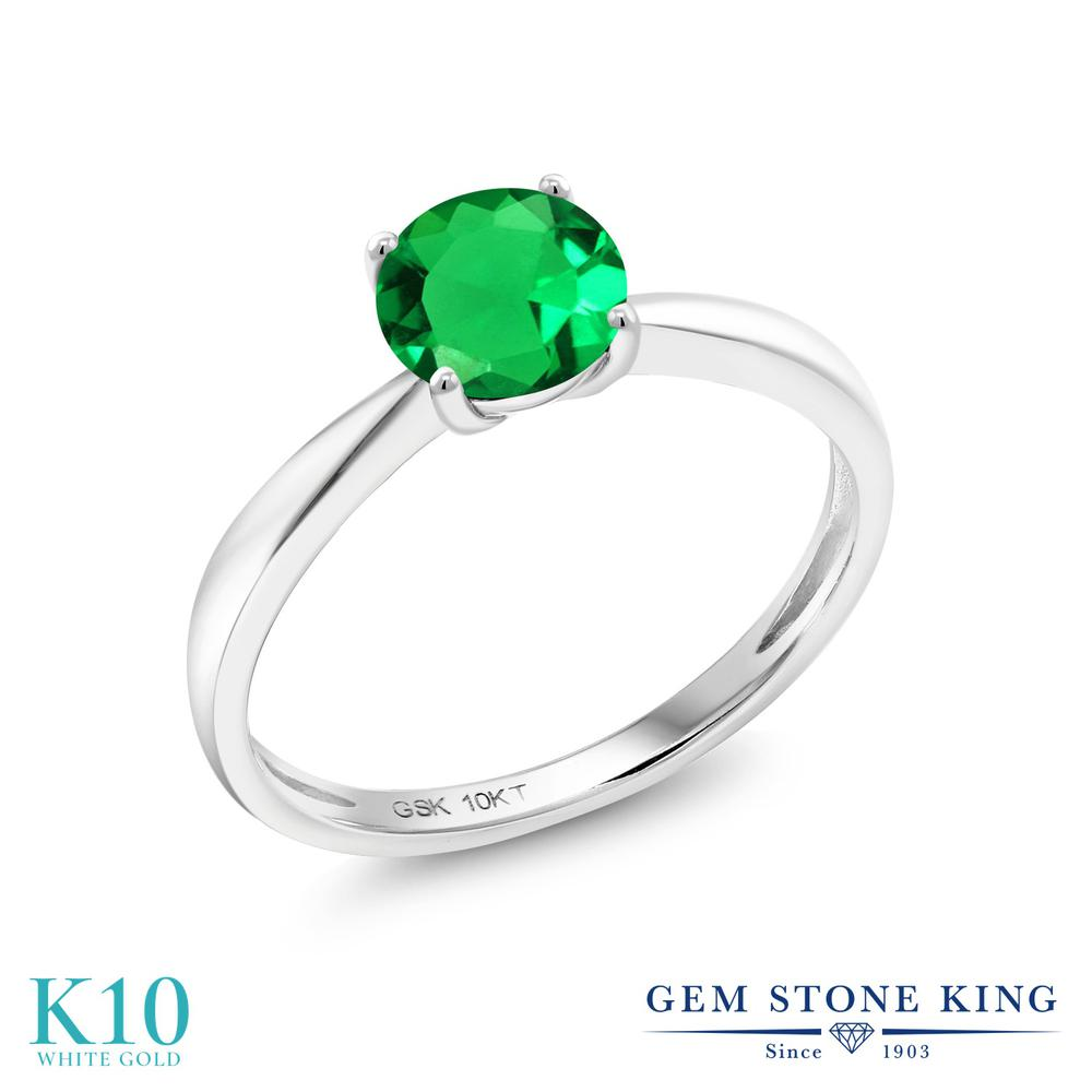 【10%OFF】 Gem Stone King 0.77カラット ナノエメラルド 指輪 リング レディース 10金 ホワイトゴールド K10 一粒 シンプル ソリティア クリスマスプレゼント 女性 彼女 妻 誕生日