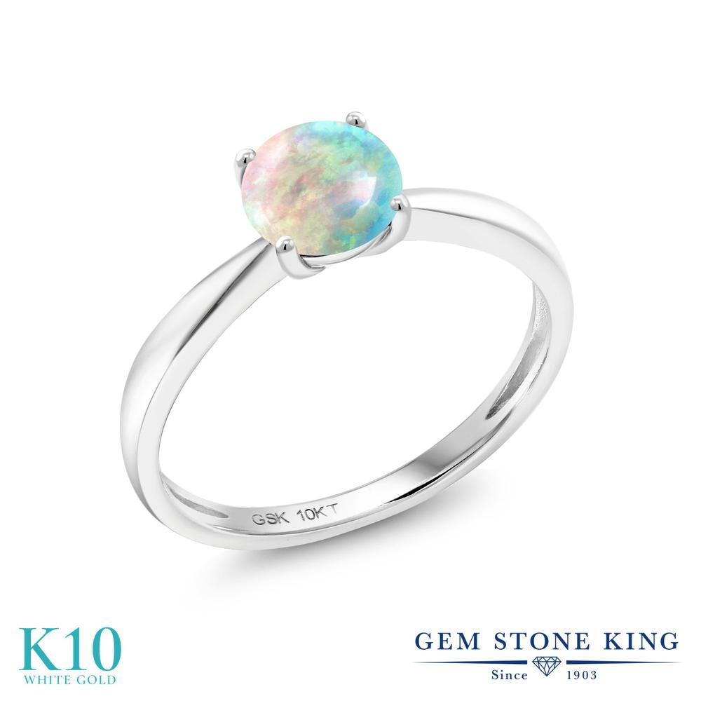【10%OFF】 Gem Stone King 0.75カラット シミュレイテッド ホワイトオパール 指輪 リング レディース 10金 ホワイトゴールド K10 一粒 シンプル ソリティア 10月 誕生石 クリスマスプレゼント 女性 彼女 妻 誕生日