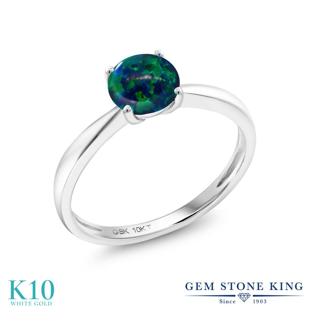 【10%OFF】 Gem Stone King 0.75カラット シミュレイテッド グリーンオパール 指輪 リング レディース 10金 ホワイトゴールド K10 一粒 シンプル ソリティア 10月 誕生石 クリスマスプレゼント 女性 彼女 妻 誕生日