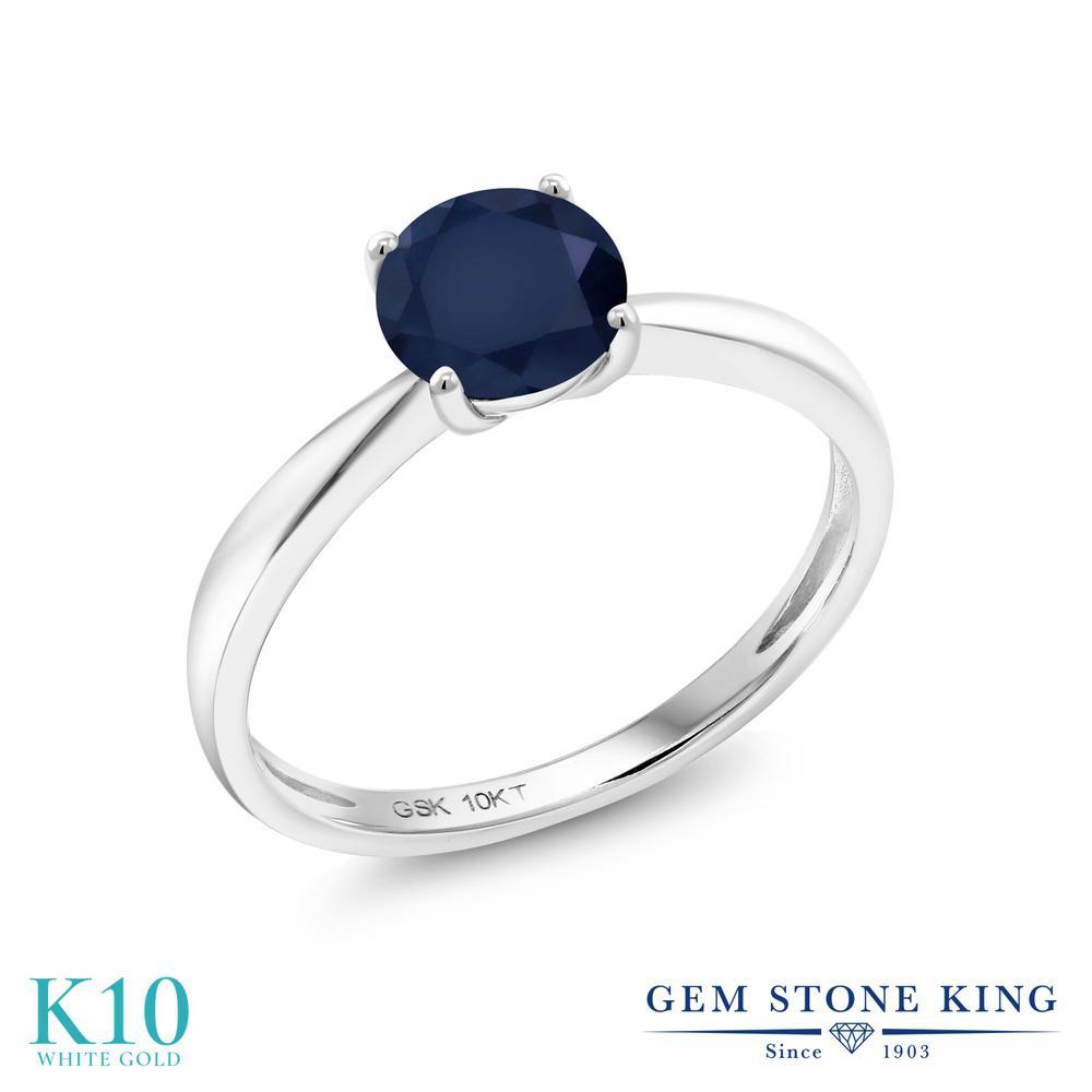 Gem Stone King 1カラット 天然 サファイア 10金 ホワイトゴールド(K10) 指輪 リング レディース 大粒 一粒 シンプル ソリティア 天然石 9月 誕生石 金属アレルギー対応 誕生日プレゼント