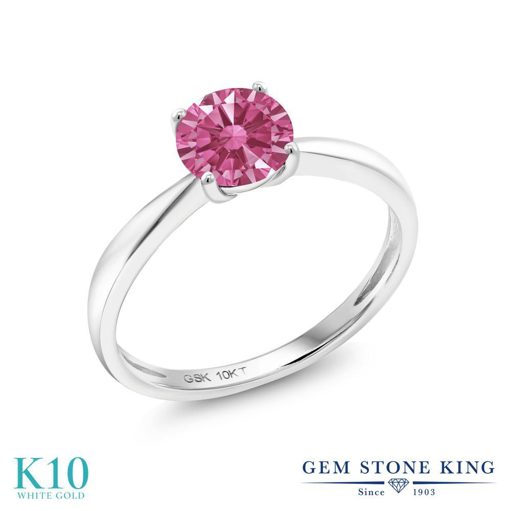 Gem Stone King スワロフスキージルコニア (レッド) 10金 ホワイトゴールド(K10) 指輪 リング レディース CZ 一粒 シンプル ソリティア 金属アレルギー対応 誕生日プレゼント