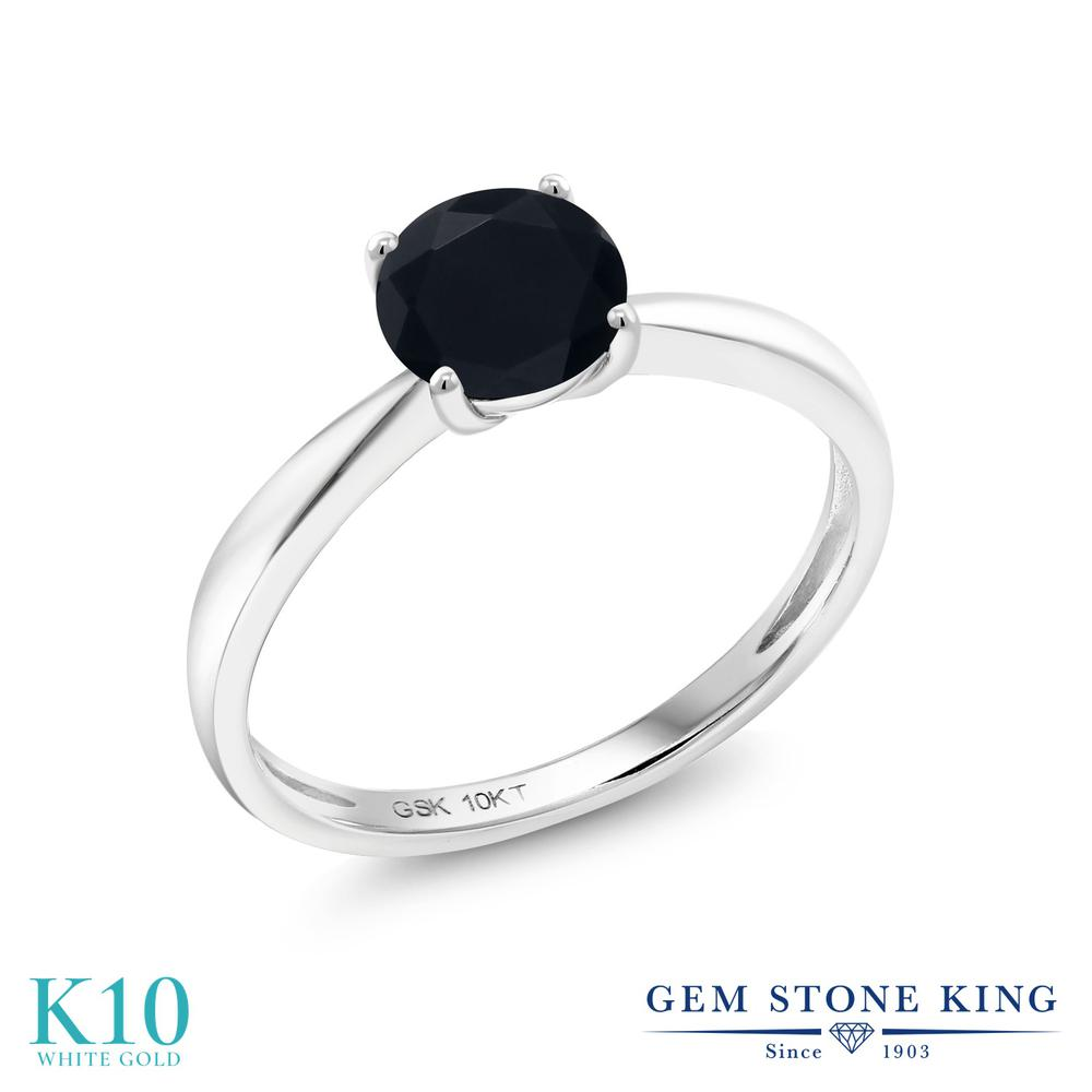 Gem Stone King 0.7カラット 天然 オニキス 10金 ホワイトゴールド(K10) 指輪 リング レディース 一粒 シンプル ソリティア 天然石 8月 誕生石 金属アレルギー対応 誕生日プレゼント