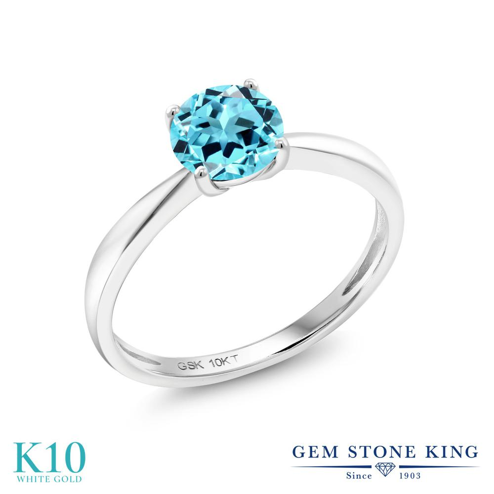 【10%OFF】 Gem Stone King 0.9カラット 天然 スイスブルートパーズ 指輪 リング レディース 10金 ホワイトゴールド K10 一粒 シンプル ソリティア 天然石 11月 誕生石 クリスマスプレゼント 女性 彼女 妻 誕生日