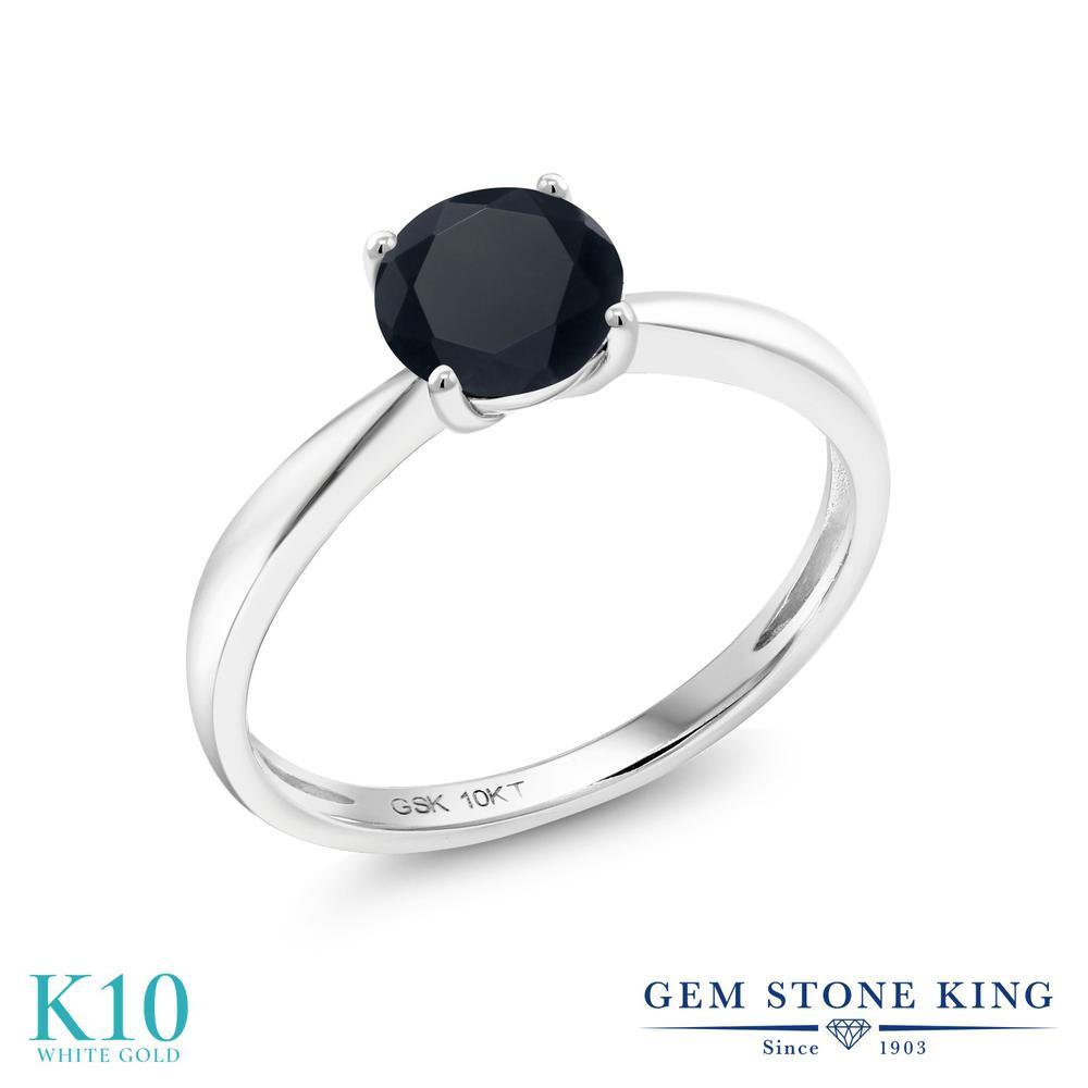 【10%OFF】 Gem Stone King ジルコニア (ブラック) 指輪 リング レディース 10金 ホワイトゴールド K10 CZ 大粒 一粒 シンプル ソリティア クリスマスプレゼント 女性 彼女 妻 誕生日