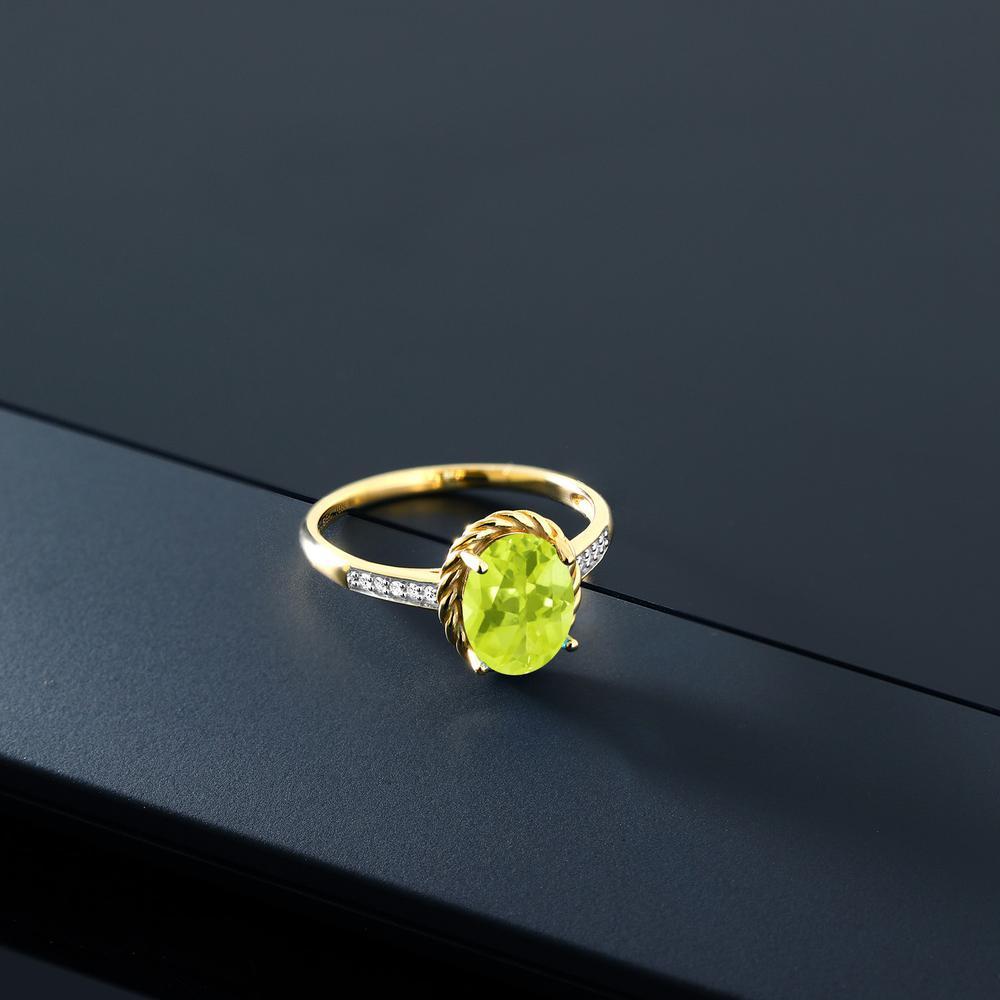 1 72カラット 天然 レモンクォーツ 天然 ダイヤモンド 10金 イエローゴールド K10指輪 レディース リング 大粒 マルチストーン 天然石 金属アレルギー対応 誕生日プレゼントrxoeBCWd