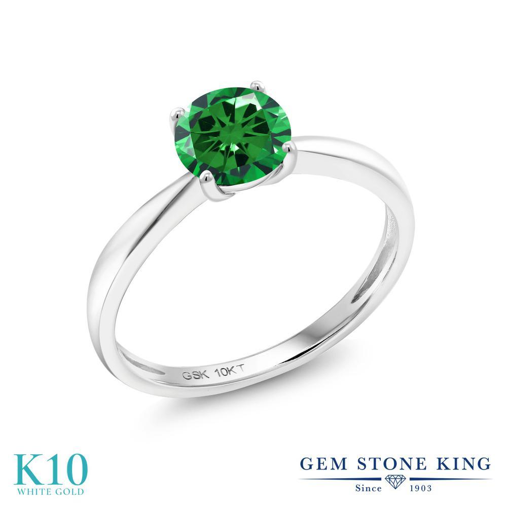 【10%OFF】 Gem Stone King ジルコニア (グリーン) 指輪 リング レディース 10金 ホワイトゴールド K10 CZ 大粒 一粒 シンプル ソリティア クリスマスプレゼント 女性 彼女 妻 誕生日