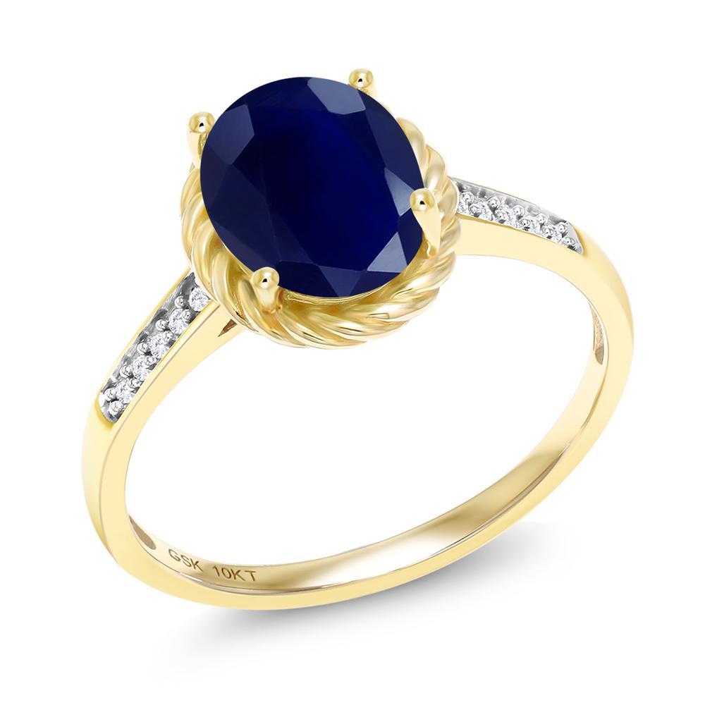 Gem Stone King 2.57カラット 天然サファイア 10金 イエローゴールド(K10) 天然ダイヤモンド 指輪 リング レディース 大粒 天然石 誕生石 誕生日プレゼント
