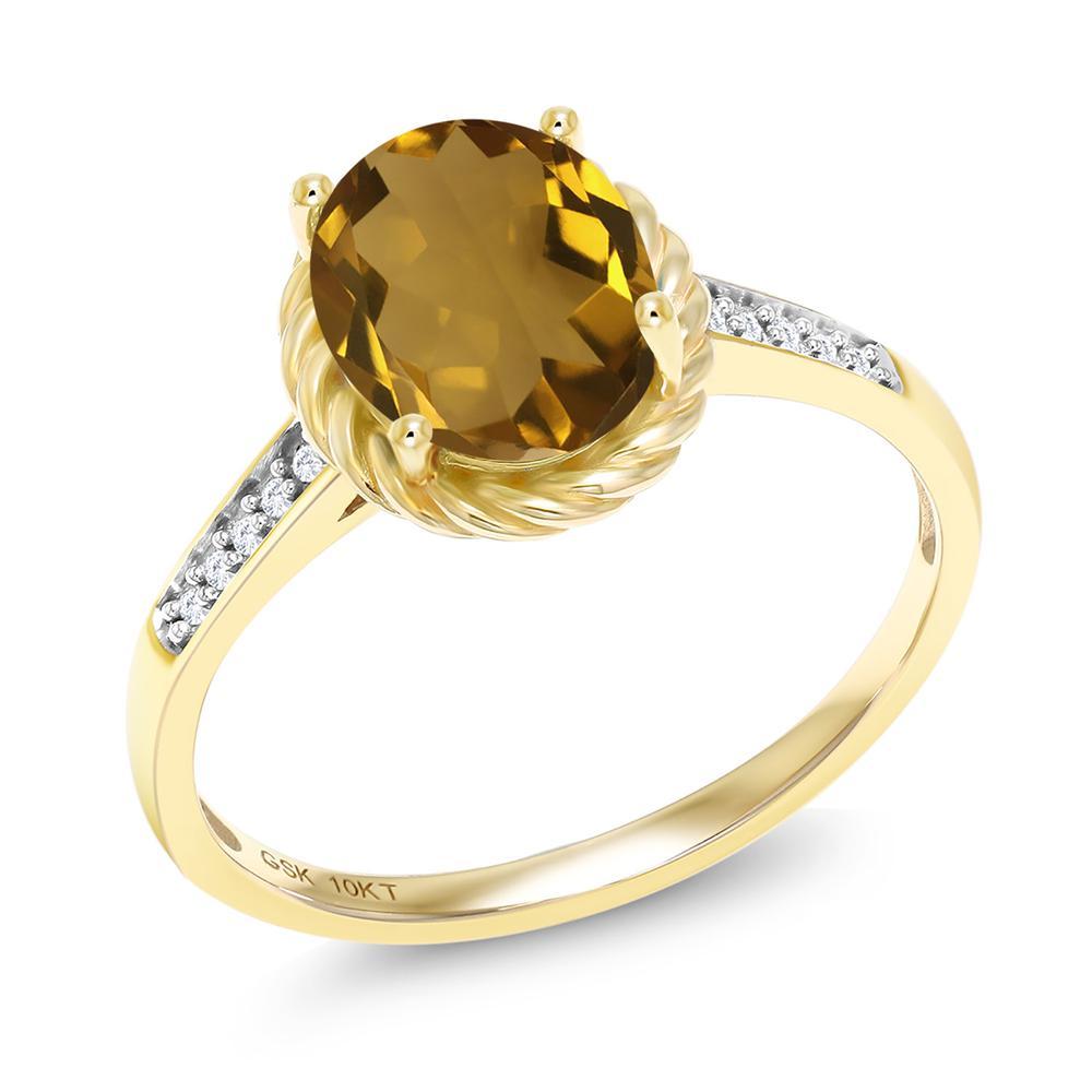 高い品質 1.47カラット 天然石 ウィスキークォーツ 天然 ダイヤモンド 10金 イエローゴールド(K10) 指輪 レディース リング 大粒 マルチストーン 天然石 金属アレルギー対応 誕生日プレゼント ホワイトデー お返し, 創新 8530cb4a