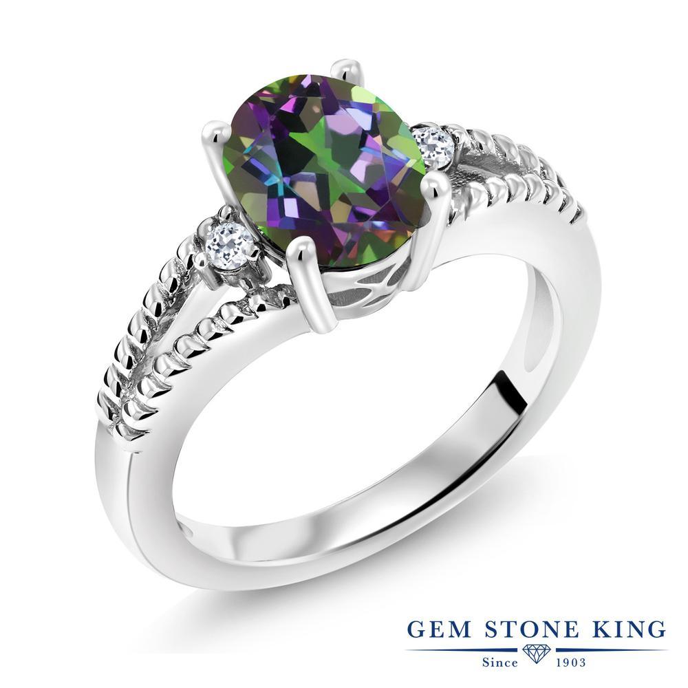 Gem Stone King 1.85カラット 天然石 ミスティックトパーズ(グリーン) 天然トパーズ(無色透明) シルバー925 指輪 リング レディース 大粒 シンプル ソリティア 天然石 金属アレルギー対応 誕生日プレゼント