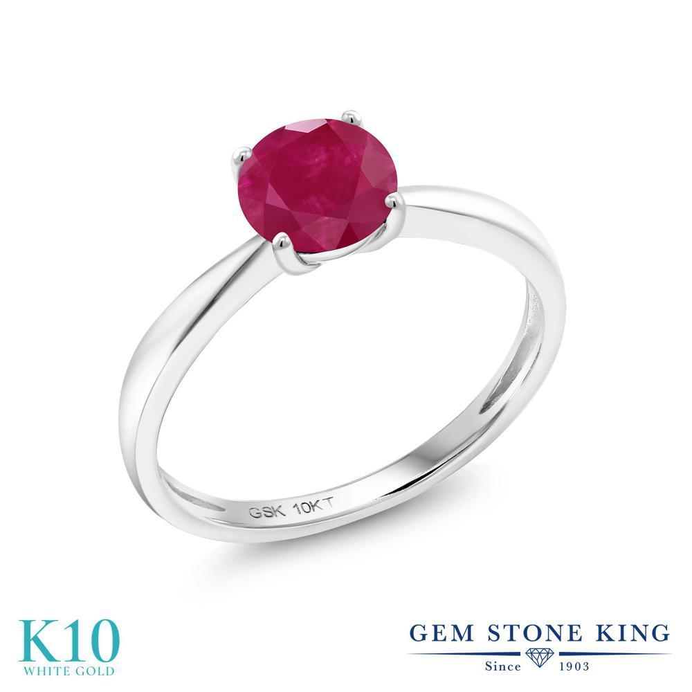 Gem Stone King 1カラット 天然 ルビー 10金 ホワイトゴールド(K10) 指輪 リング レディース 大粒 一粒 シンプル ソリティア 天然石 7月 誕生石 金属アレルギー対応 誕生日プレゼント