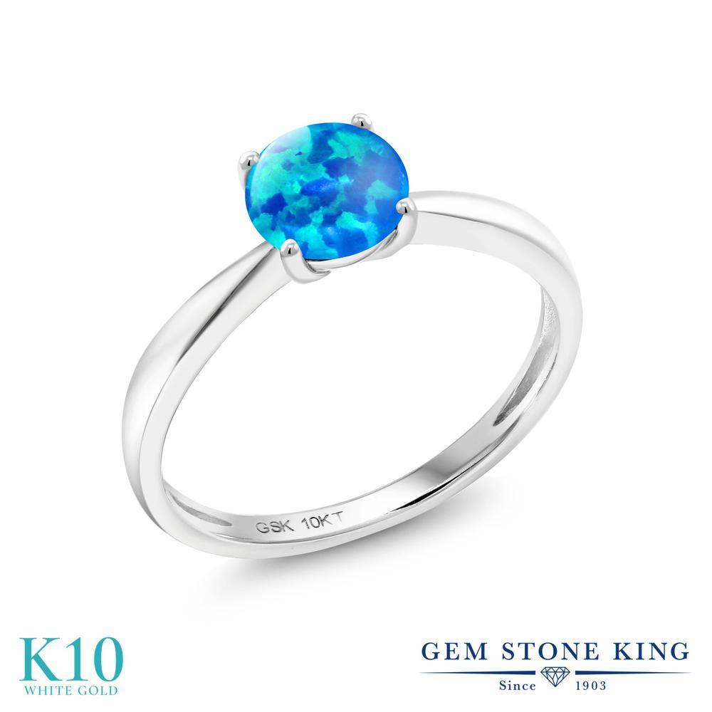 【10%OFF】 Gem Stone King 0.75カラット シミュレイテッド ブルーオパール 指輪 リング レディース 10金 ホワイトゴールド K10 一粒 シンプル ソリティア 10月 誕生石 クリスマスプレゼント 女性 彼女 妻 誕生日