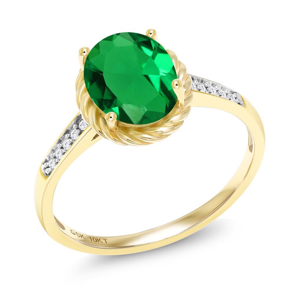 絶対一番安い 1.57カラット ナノエメラルド 天然 ダイヤモンド 10金 イエローゴールド(K10) 指輪 レディース リング 大粒 マルチストーン 金属アレルギー対応 誕生日プレゼント ホワイトデー お返し, エスニックディージャイ 2a013db6