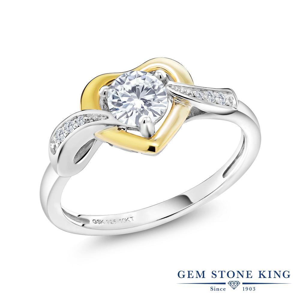 Gem Stone King 0.54カラット Forever Brilliant モアサナイト Charles & Colvard 天然 ダイヤモンド シルバー925 指輪 リング レディース モアッサナイト 小粒 バイパス 金属アレルギー対応 誕生日プレゼント
