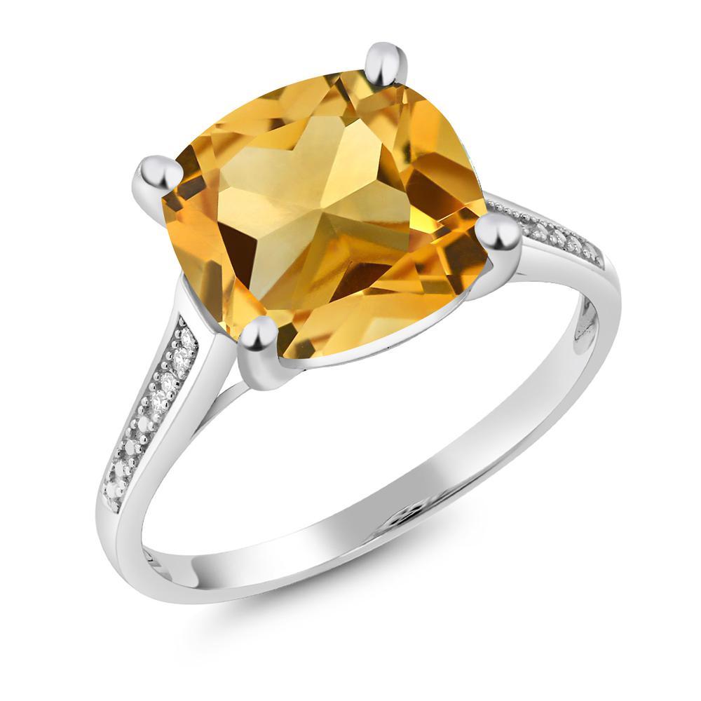 Gem Stone King 3.22カラット 天然 シトリン 10金 ホワイトゴールド(K10) 指輪 リング レディース 大粒 一粒 シンプル ソリティア 天然石 11月 誕生石 金属アレルギー対応 誕生日プレゼント