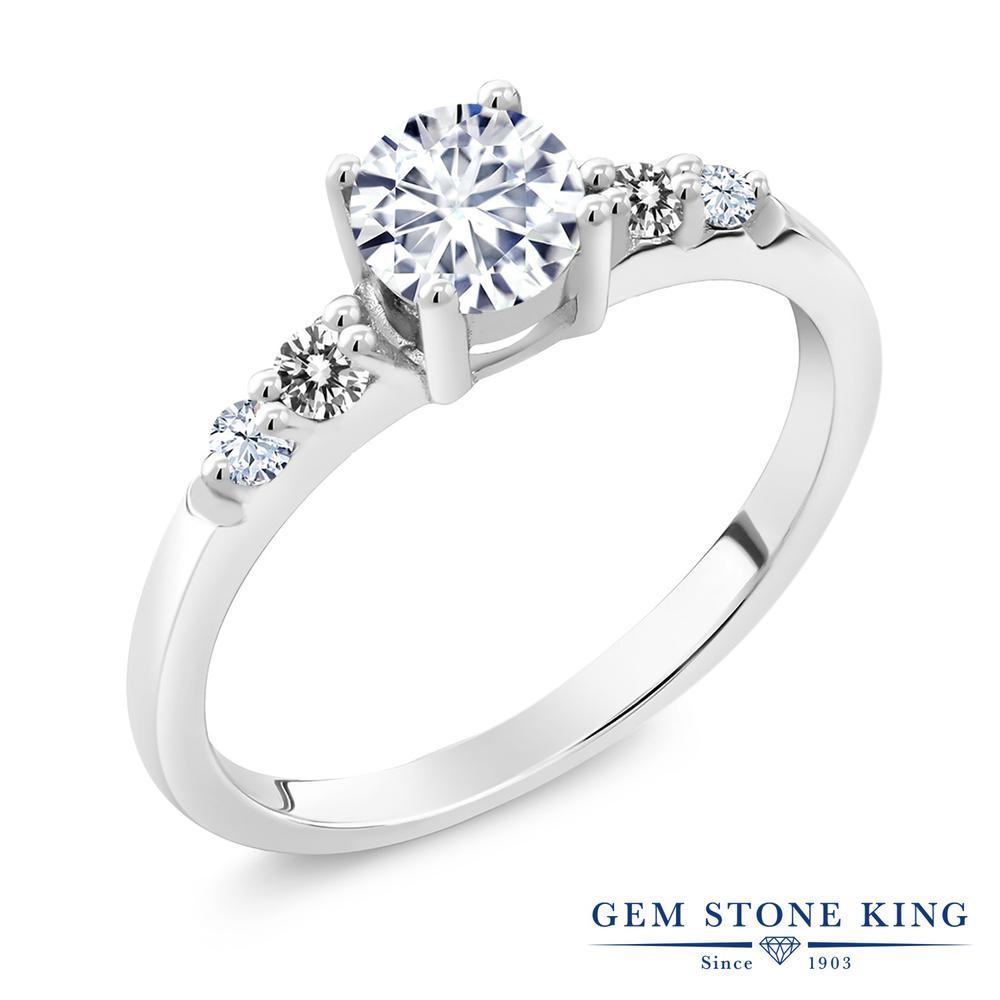 Gem Stone King 0.7カラット Forever Brilliant モアサナイト Charles & Colvard 天然 ダイヤモンド シルバー925 指輪 リング レディース モアッサナイト 小粒 マルチストーン 金属アレルギー対応 婚約指輪 エンゲージリング