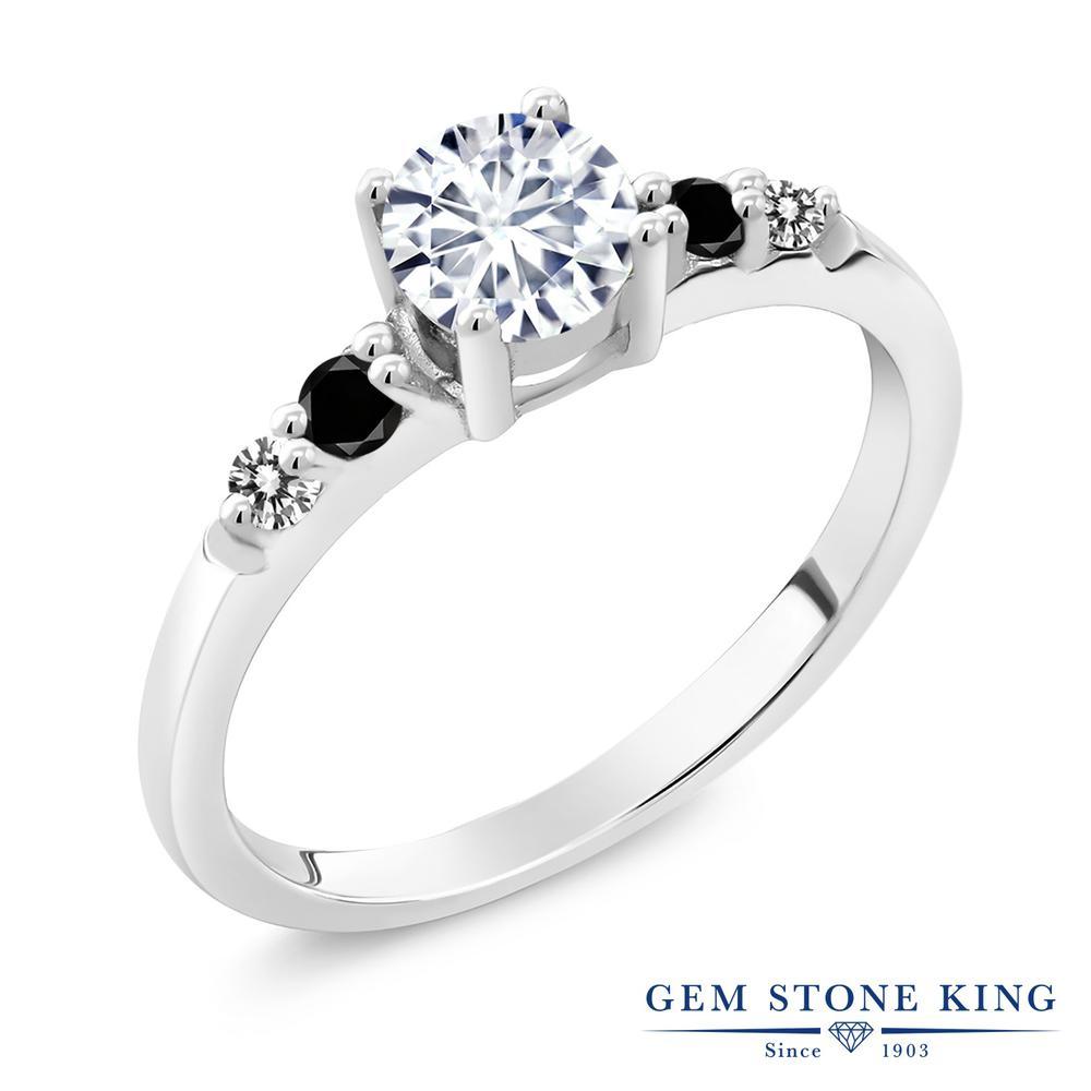 【10%OFF】 Gem Stone King 0.68カラット Forever Brilliant モアサナイト Charles & Colvard ブラックダイヤモンド 指輪 リング レディース シルバー925 モアッサナイト 小粒 マルチストーン 婚約指輪 エンゲージリング