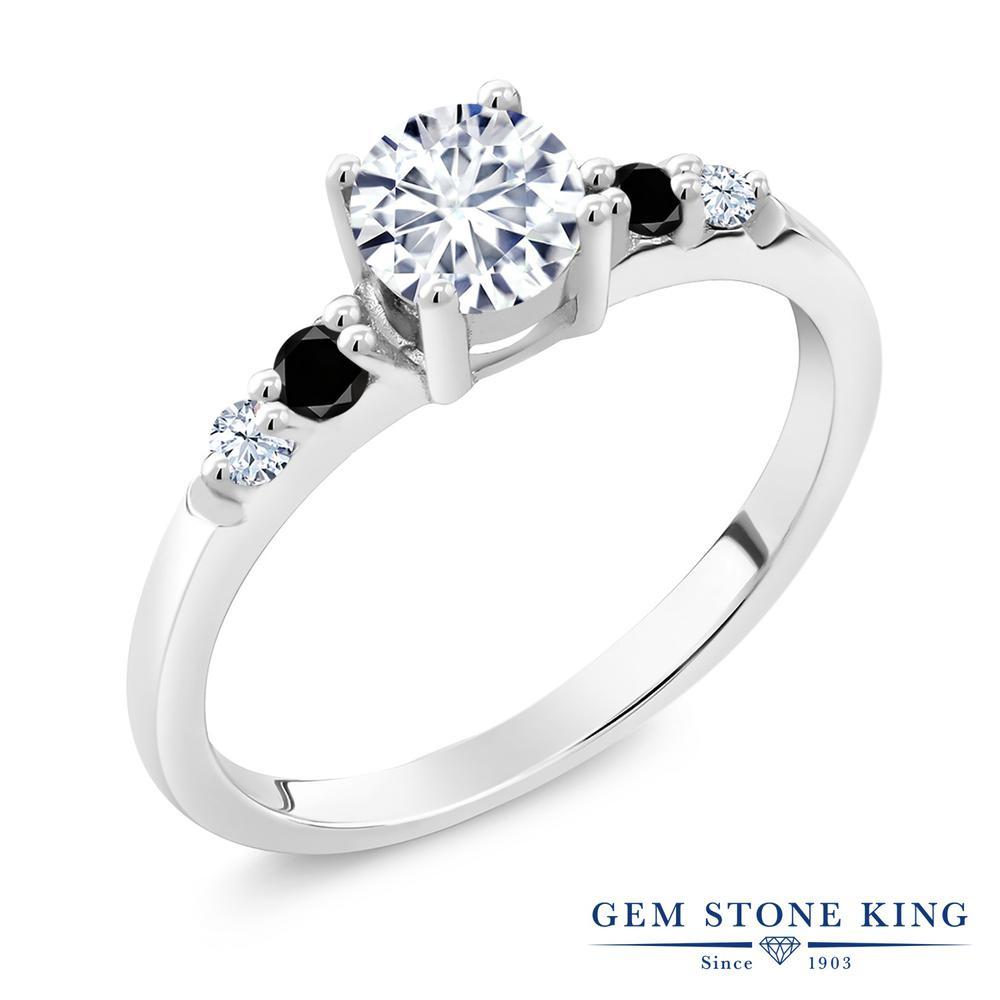Gem Stone King 0.69カラット Forever Brilliant モアッサナイト Charles & Colvard シルバー925 天然ブラックダイヤモンド 指輪 リング レディース 小粒 誕生日プレゼント