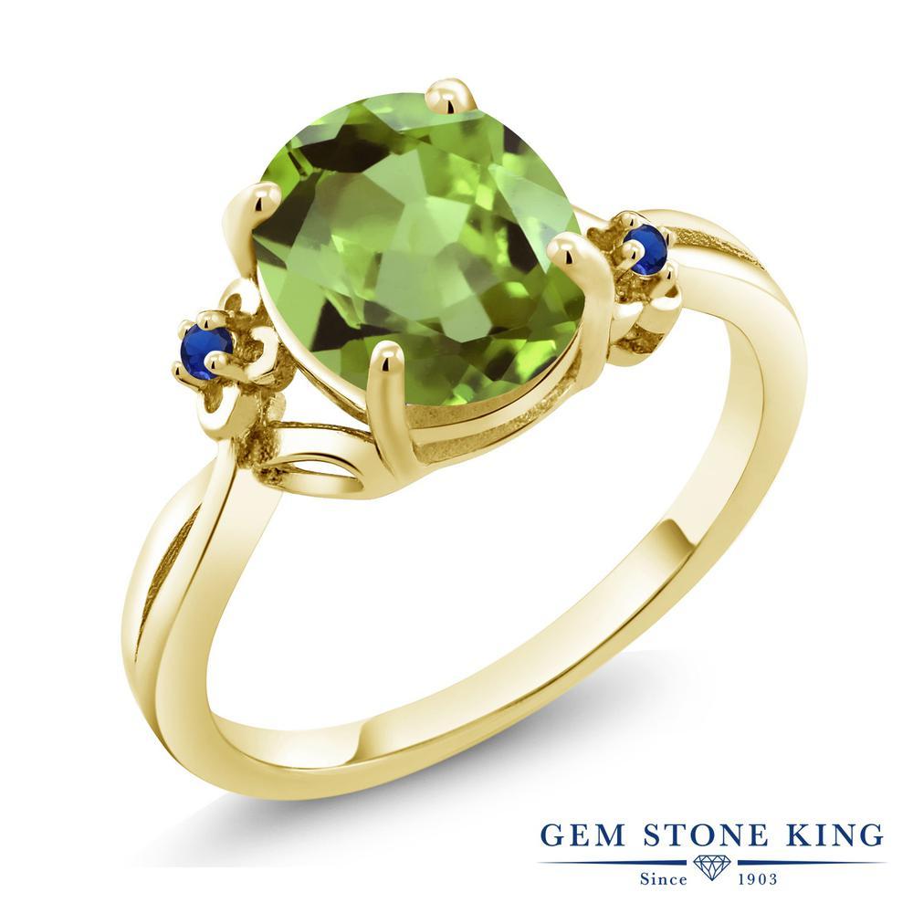 Gem Stone King 3.04カラット 天然石 ペリドット シミュレイテッド サファイア シルバー925 イエローゴールドコーティング 指輪 リング レディース 大粒 シンプル ソリティア 天然石 8月 誕生石 金属アレルギー対応 誕生日プレゼント