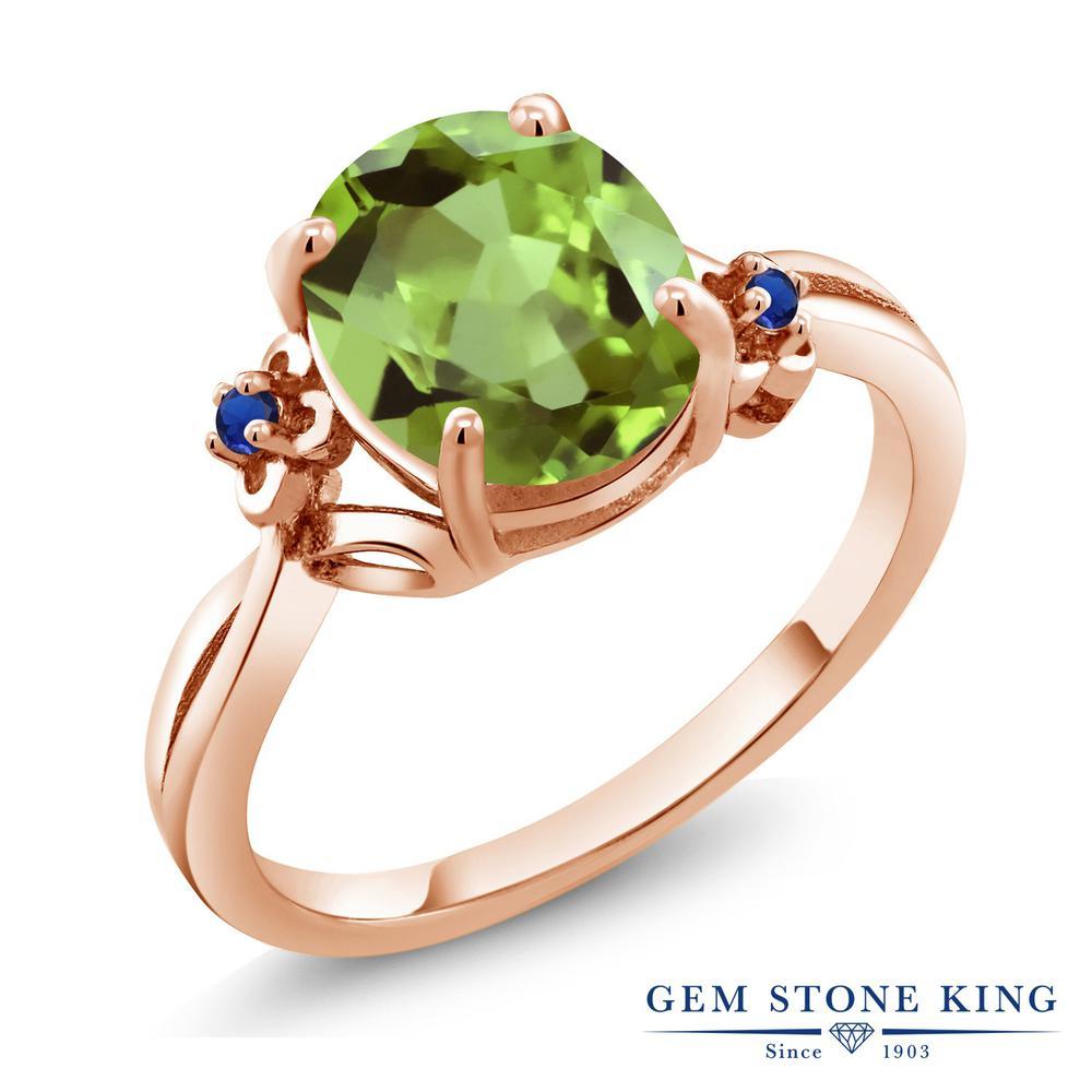 Gem Stone King 3.04カラット 天然石 ペリドット シミュレイテッド サファイア シルバー925 ピンクゴールドコーティング 指輪 リング レディース 大粒 シンプル ソリティア 天然石 8月 誕生石 金属アレルギー対応 誕生日プレゼント