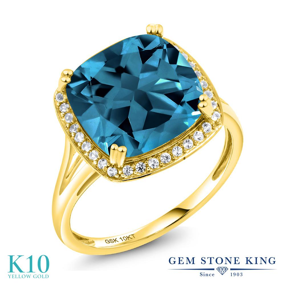 Gem Stone King 8.54カラット 天然 ロンドンブルートパーズ 天然 ダイヤモンド 10金 イエローゴールド(K10) 指輪 リング レディース 大粒 大ぶり カクテル 天然石 11月 誕生石 金属アレルギー対応 誕生日プレゼント