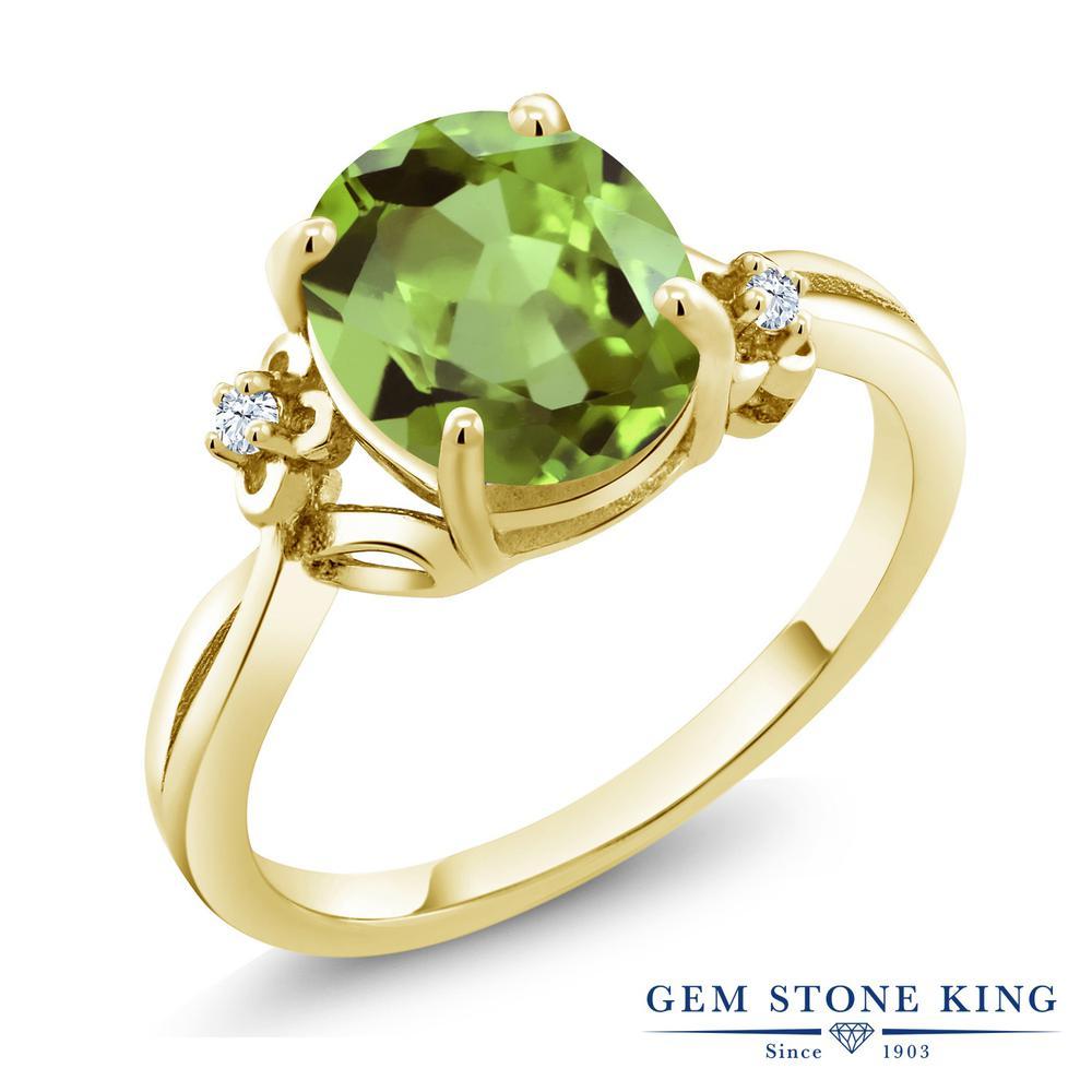 Gem Stone King 3.03カラット 天然石 ペリドット 合成ホワイトサファイア (ダイヤのような無色透明) シルバー925 イエローゴールドコーティング 指輪 リング レディース 大粒 シンプル ソリティア 天然石 8月 誕生石 金属アレルギー対応 誕生日プレゼント