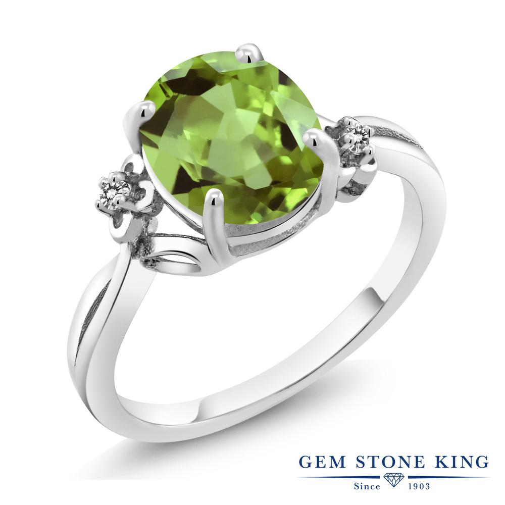 Gem Stone King 3.03カラット 天然石 ペリドット 天然 ダイヤモンド シルバー925 指輪 リング レディース 大粒 シンプル ソリティア 天然石 8月 誕生石 金属アレルギー対応 誕生日プレゼント