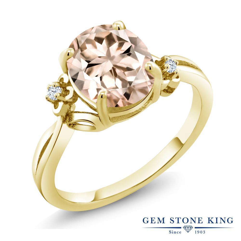 Gem Stone King 2.73カラット 天然 モルガナイト (ピーチ) 合成ホワイトサファイア (ダイヤのような無色透明) シルバー925 イエローゴールドコーティング 指輪 リング レディース 大粒 シンプル ソリティア 天然石 3月 誕生石 金属アレルギー対応 誕生日プレゼント