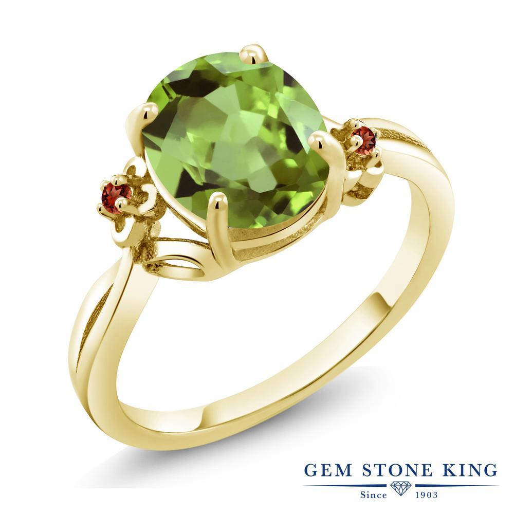 Gem Stone King 3.04カラット 天然石 ペリドット 天然 ガーネット シルバー925 イエローゴールドコーティング 指輪 リング レディース 大粒 シンプル ソリティア 天然石 8月 誕生石 金属アレルギー対応 誕生日プレゼント