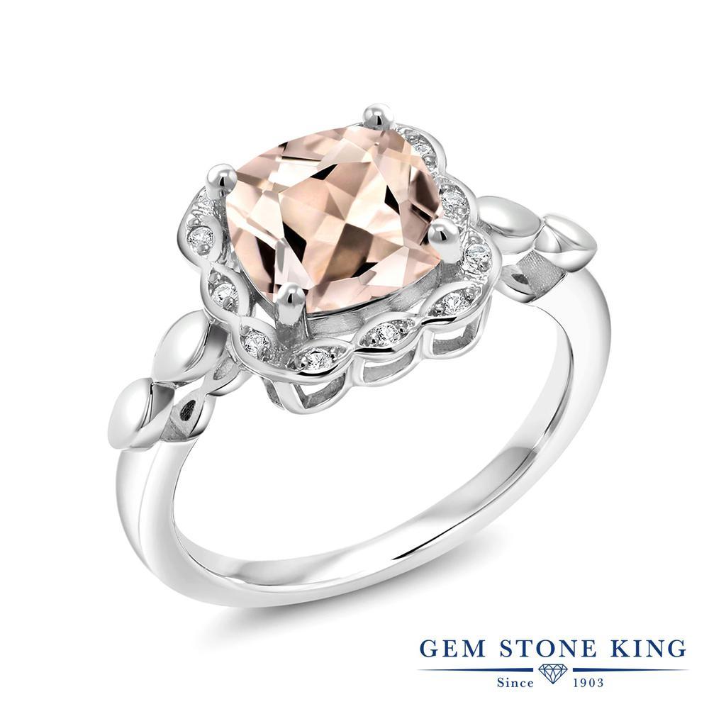 Gem Stone King 1.98カラット 天然モルガナイト(ピーチ) 合成ホワイトサファイア(ダイヤのような無色透明) シルバー925 指輪 リング レディース 大粒 天然石 誕生石 誕生日プレゼント