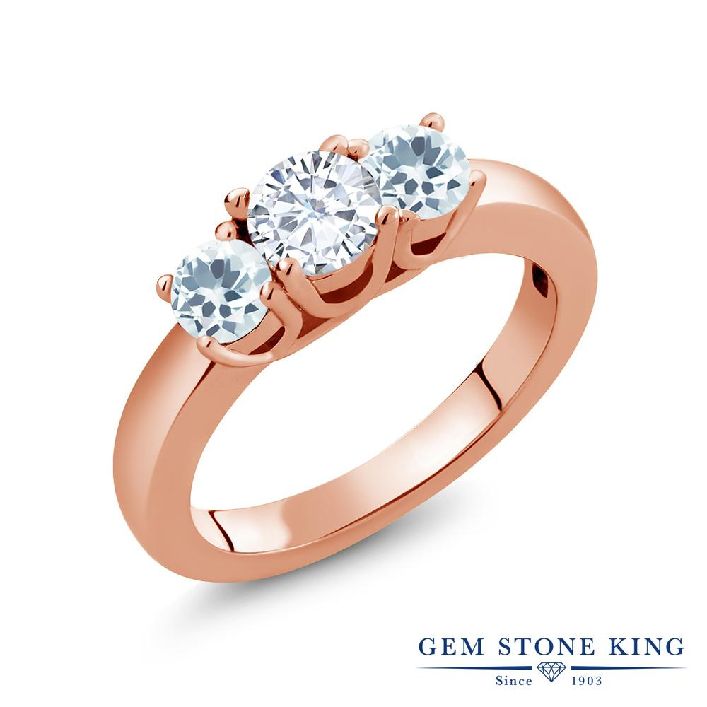 Gem Stone King 0.94カラット Forever Brilliant モアッサナイト Charles & Colvard 天然アクアマリン シルバー 925 ローズゴールドコーティング 指輪 リング レディース 小粒 シンプル 誕生日プレゼント