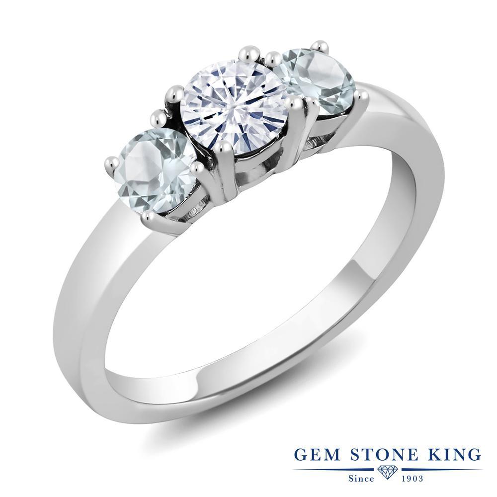 Gem Stone King 1カラット Forever Brilliant モアッサナイト Charles & Colvard 天然アクアマリン シルバー925 指輪 リング レディース 小粒 シンプル 誕生日プレゼント