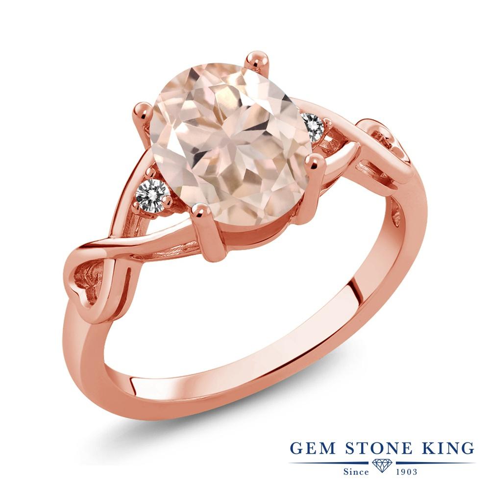 Gem Stone King 1.66カラット 天然 モルガナイト (ピーチ) 天然 ダイヤモンド シルバー925 ピンクゴールドコーティング 指輪 リング レディース 大粒 シンプル ソリティア 天然石 3月 誕生石 金属アレルギー対応 誕生日プレゼント