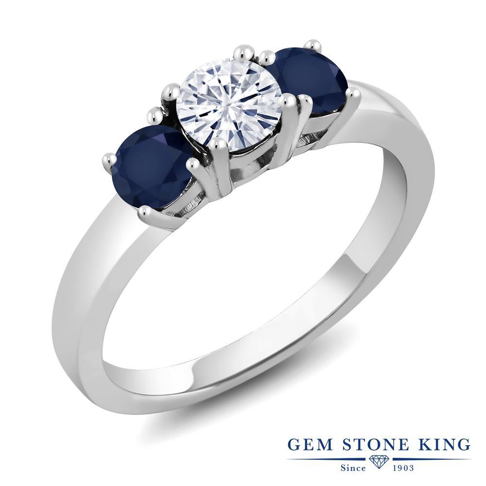 【10%OFF】 Gem Stone King 1.2カラット Forever Brilliant モアサナイト Charles & Colvard 天然 サファイア 指輪 リング レディース シルバー925 モアッサナイト 小粒 シンプル スリーストーン クリスマスプレゼント 女性 彼女 妻 誕生日