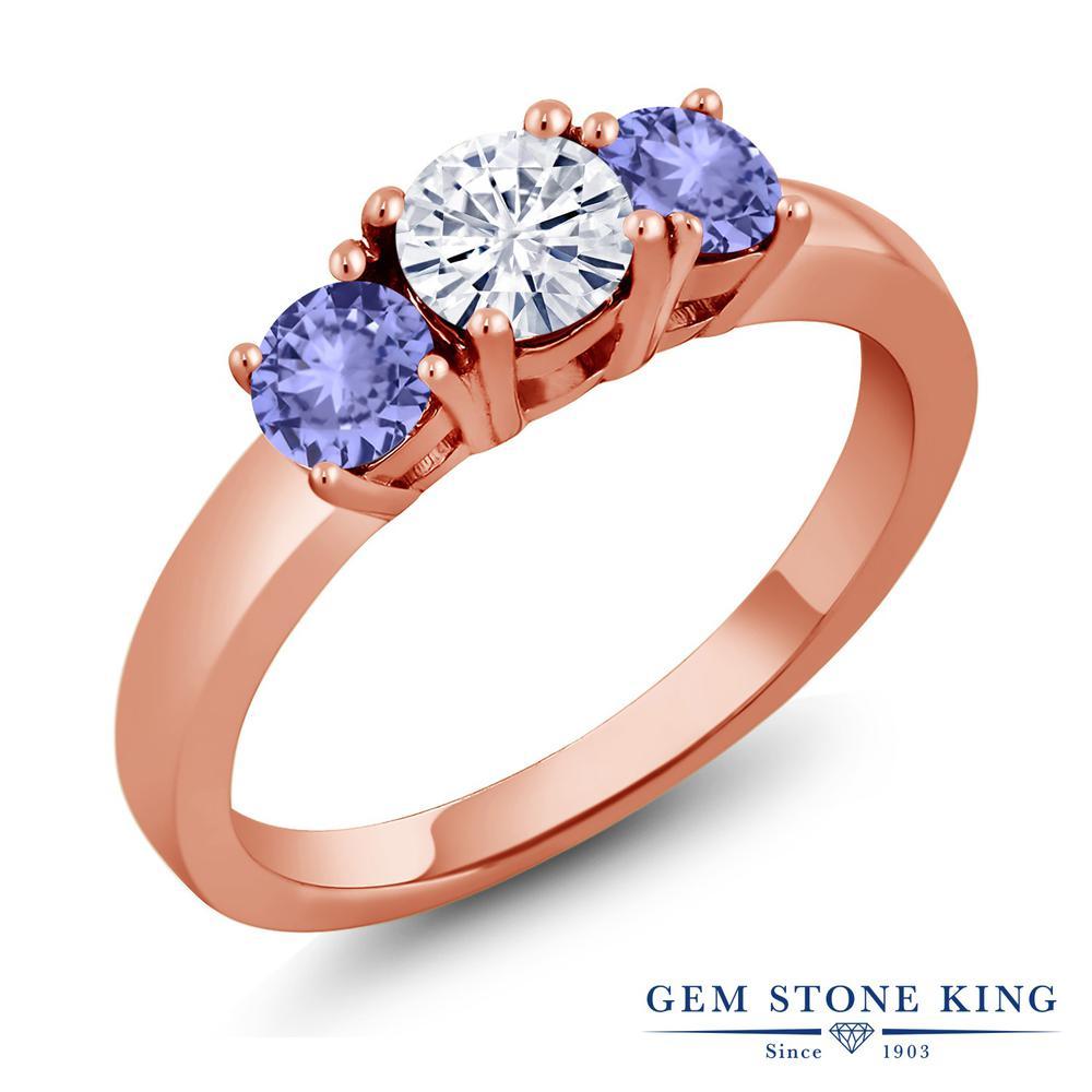 Gem Stone King 1.1カラット Forever Brilliant モアッサナイト Charles & Colvard 天然石 タンザナイト シルバー 925 ローズゴールドコーティング 指輪 リング レディース 小粒 シンプル 誕生日プレゼント