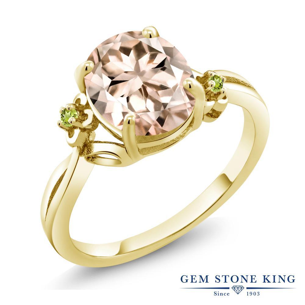 Gem Stone King 2.74カラット 天然 モルガナイト (ピーチ) シミュレイテッド ペリドット シルバー925 イエローゴールドコーティング 指輪 リング レディース 大粒 シンプル ソリティア 天然石 3月 誕生石 金属アレルギー対応 誕生日プレゼント