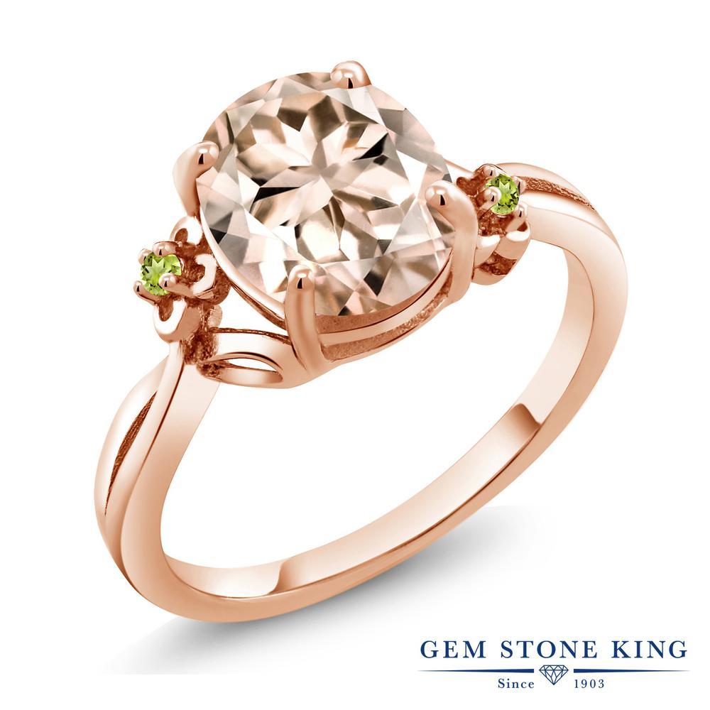Gem Stone King 2.74カラット 天然 モルガナイト (ピーチ) シミュレイテッド ペリドット シルバー925 ピンクゴールドコーティング 指輪 リング レディース 大粒 シンプル ソリティア 天然石 3月 誕生石 金属アレルギー対応 誕生日プレゼント