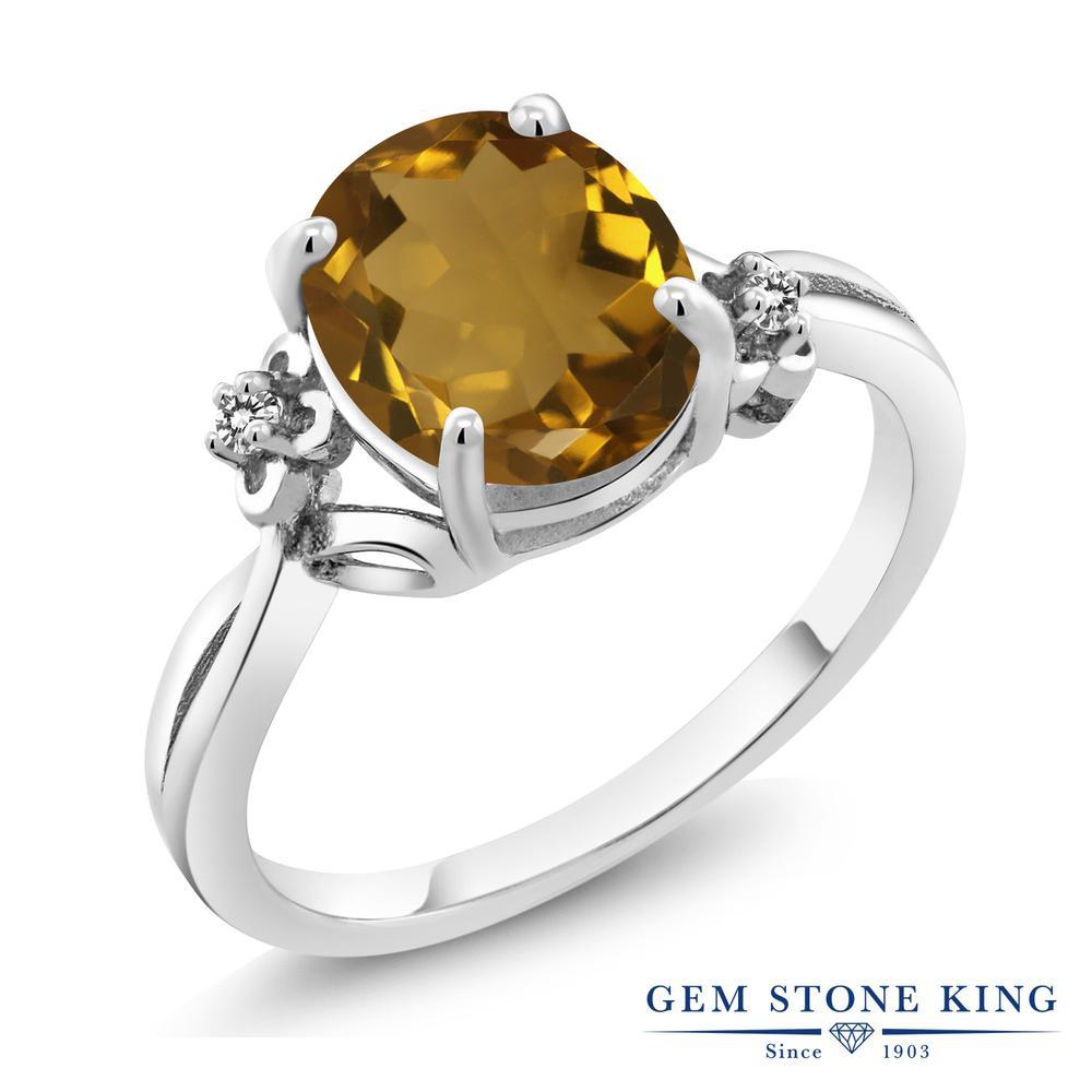 2.03カラット 天然石 ウィスキークォーツ 天然 ダイヤモンド 指輪 リング レディース シルバー925 大粒 シンプル ソリティア 金属アレルギー対応