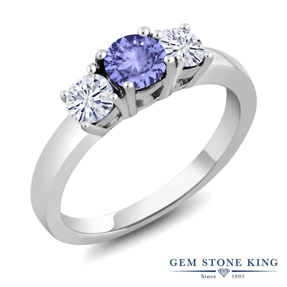 Gem Stone King 0.92カラット 天然石 タンザナイト モアサナイト Charles & Colvard シルバー925 指輪 リング レディース 小粒 シンプル スリーストーン 12月 誕生石 金属アレルギー対応 誕生日プレゼント