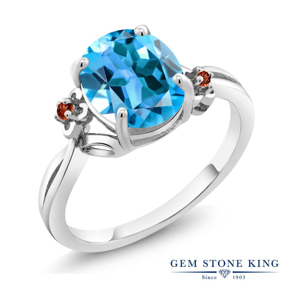 Gem Stone King 2.74カラット 天然トパーズ(スイスブルー) 天然ガーネット シルバー925 指輪 リング レディース 大粒 シンプル ソリティア 天然石 誕生石 金属アレルギー対応 誕生日プレゼント